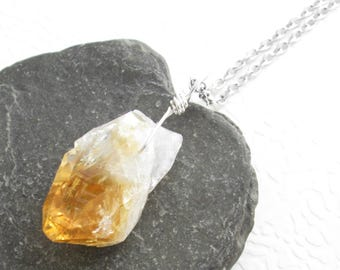 Rough Citrine Pendant: Yellow Quartz Point Necklace, Natural Crystal Jewelry, Gifts Under 50, November Birthstone