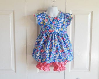 "Girls ""Piper"" Flutter Sleeve Top Bloomer Shorts Set - 6 mos to size 6 - Berry Garden Sommer collection - blue bunnies birds springtime"