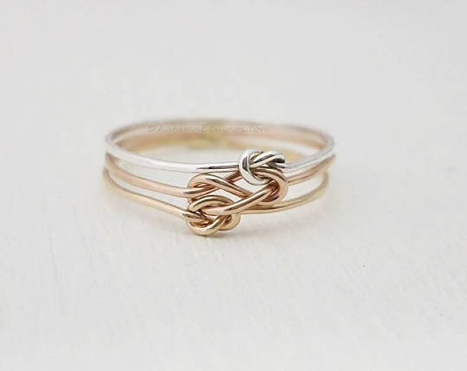 Triple Knot Ring Silver Rose Gold