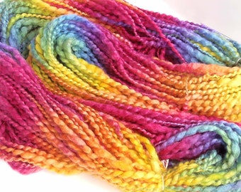 Handspun Yarn Super Bulky Weight Hand Dyed Yarn Thick and Thin BFL Wool Alpaca 110 yards Super Soft Yarn Art Yarn - Raspberry Rainbow
