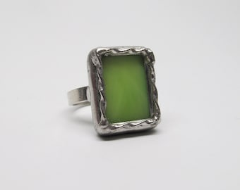 Lime Rickey - Sterling Silver Stained Glass Ring - Size 5.5