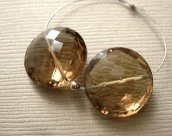 Whiskey Quartz Faceted Coin Beads 13.5mm - Matched Gemstone Pair