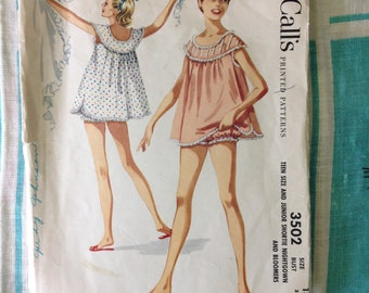 McCall's 3502 vintage babydoll nightie and bloomers 1955