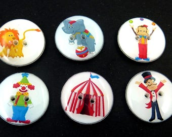 6 Circus Buttons.  Each button different.  Handmade Buttons.  Clown, Lion, Elephant and more.