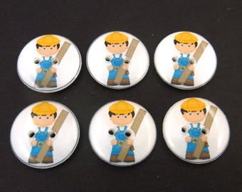 """6 Construction Worker or Carpenter Handmade Sewing Buttons. 3/4"""" or 20 mm Buttons for Boys."""