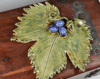 Grape Leaf - Decorative Tray - Ring Dish - Handmade