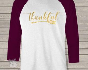 Thankful arrow gold foil or glitter unisex ADULT raglan shirt - perfect for Thanksgiving Day festivities  TAGR