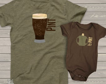matching father son shirts - pint and half pint or choose a bodysuit gift set - great holiday or Father's Day shirts gifts DARK MDF1-009v