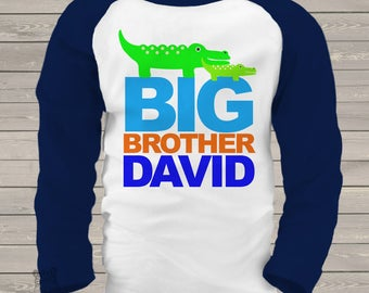 big brother shirt alligator -  raglan alligator  /  long sleeve big brother t-shirt MALL1-004-R
