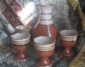 Vintage Stoneware Pitcher and 4 Cups