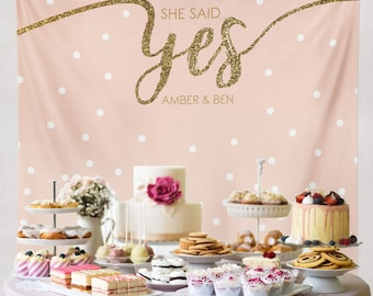She Said Yes, Bridal Shower Decorations, Engagement Decor, Engagement Party Decorations, Bridal Shower Banner/ W-G23-TP MAR1 AA3