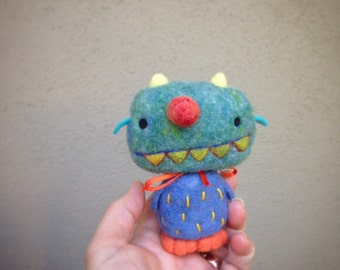 OOAK Needle felted Blue Monster Toy Shelf Sitter Ready to Ship