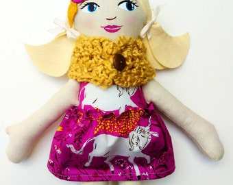 "Blonde Cloth Heirloom Doll, 18""  Blond Ponytails, Rag doll, fabric doll, soft doll, christmas doll, gifts under 75, handmade doll"