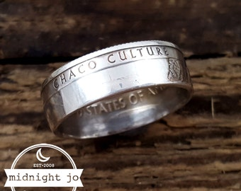 Silver Coin Ring Chaco Culture National Park Quarter Coin Ring Double Sided Coin Ring New Mexico Coin Ring