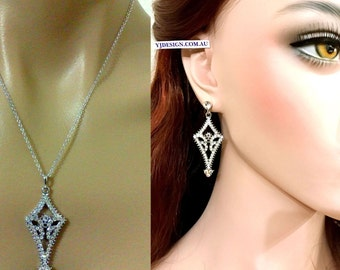 Art Deco Bridal Jewelry Set, Gatsby Wedding Earrings, Geometric Bridal Necklace, Swarovski Bridal Earrings, Crystal Wedding Jewelry, ALIA
