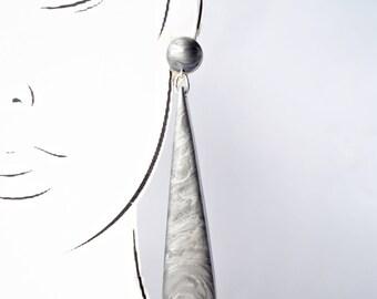 Handmade Triangle Drop Earrings. Large long chandelier facet geometric statement dangle resin earrings in metallic silver grey.