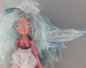 BLUE FAERIE, hand sculpted paper clay puppet doll, free shipping in the USA