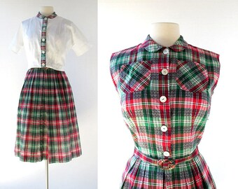 Plaid 50s Dress   Tic Tac Toe   1950s Dress with Jacket   XS