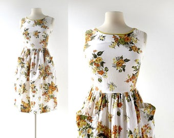 50s Floral Dress | Marigold Dress | 1950s Dress | XXS XS