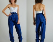"Paper Bag Waist Vintage 80s Distressed Paper Bag Waist Tapered Leg Indie Boho Jeans (29"" waist)"