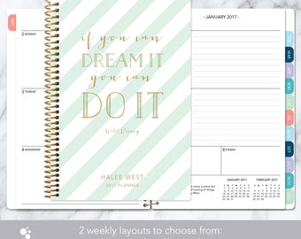 2018 planner | 2017-2018 calendar | weekly student planner add monthly tabs | personalized planner agenda daytimer | mint gold stripes quote