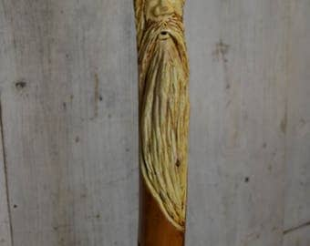 Wood Spirit Walking Stick, Whimsical Carving, Handcarved Elm Woodspirit Hiking Stick, Hand-carved Mountain Man Wood Carvers of Etsy 1620