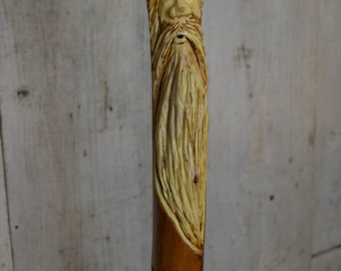 Wood Spirit Walking Stick, Whimsical Carving, Handcarved Elm Woodspirit Hiking Stick, Hand-carved Mountain Man Wood Carvers of Etsy 1620