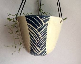 Hanging Planter, handmade pottery hanging planter