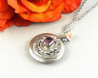 Amethyst, Locket,Necklace,Amethyst,Purple,Antique Locket,Silver Locket,Birthstone,Amethyst Birthstone,Purple Stone.