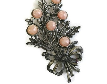 Art Deco Moonglow Flower Brooch Pot Metal Pink Lucite Cabochons Vintage