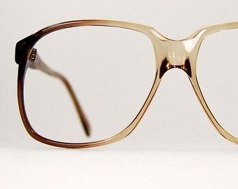 Vintage 1970s Mens Aviator Eyeglasses Frames  Brown Cafe Au Lait Fade Pilot Frames Japan Unisex  54/20