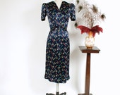 Vintage 1930s Dress - Sensational Navy Blue Printed Charmeuse Satin 30s Day Dress with Bright Spring Colors and Matching Sash