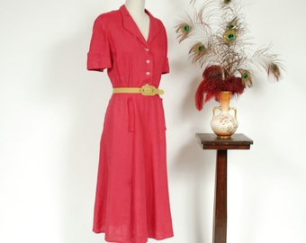Vintage 1940s Dress -  Soft Fuchsia Linen Summer Day Dress