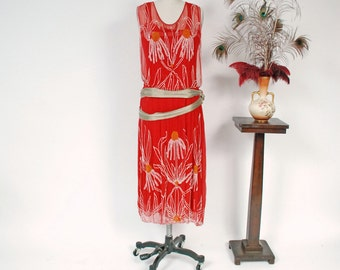 Vintage 1920s Dress - Sensational Cherry Red Silk 20s Flapper Dress Heavily Beaded with Daisy Motif and Trimmed with Lamé Sash As Is
