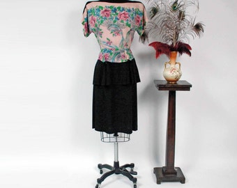 Vintage 1940s Dress - Spring 2017 Lookbook - The Midnight Garden Dress - Rare Border Novelty Print Rayon 40s Peplum Dress with Peplum
