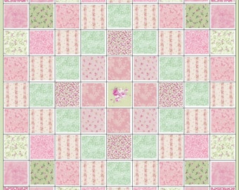 Shabby Sweet Baby Girl Quilt Kit~All Pink & Green Fabric~Rosebuds~Yuwa Rosebud Ticking Stripe~QK#14