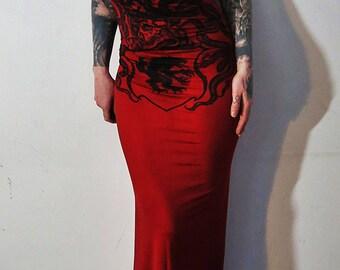 Satanic Warmaster Studded Hooded Halter Maxi Dress