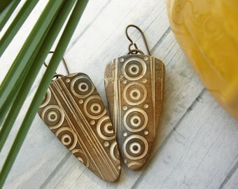 Polymer Clay Earrings Jewelry featuring a Rustic Circle Design in Gold, Brown and White