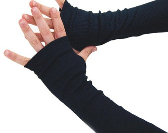 Arm Warmers Inky Black Waffle Sleeves - Midnight Fingerless Gloves M/L