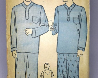 Advance 2371 - Cool 1930s Men's Pajamas Pattern - PJs, Sleepwear, Loungewear - Size 38 - 40 - Vintage Guy's Leisure Lounge, Etc.