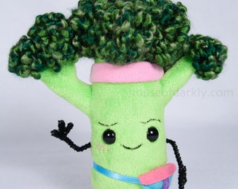 Broccoli Buddy health food plush ready to work out with fanny pack and sweat band