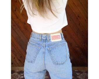 Light Wash h/w Denim Boyfriend Jeans - Vintage 90s- S/M