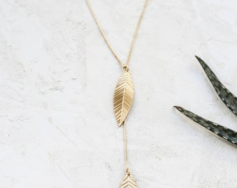 Ivy Lariat Necklace, Long Leaf Necklace, Woodland Necklace, Nature Inspired Necklace, Leaf Pendent, Boho Necklace, Bohemian Jewelry