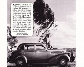 1935 Dodge Automobile Advertisement - Vintage Antique 30s Era Art Ad for Framing