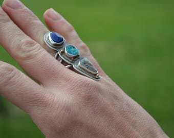 Turquoise Hemimorphite and Lapis Lazuli Triple Sterling Silver Ring Size 6