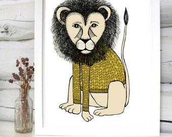 Lion in a sweater illustration print children's room decor