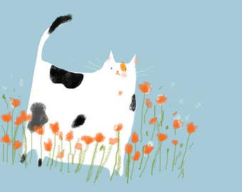 Miss Poppy- Spring Cat Print - Calico Cat- Cat Lover - Cat Mom - Cat Painting