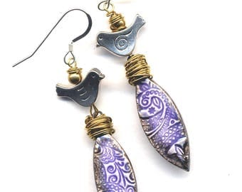 Sterling Silver Bird Earrings, Porcelain Earrings, Handmade Clay Purple Lace Earrings, Long Ceramic 925 Silver Earrings by Annaart72