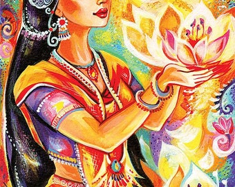 Spiritual art, praying woman, inspirational painting, Indian goddess print, yoga lotus art, beauty painting print 8x11.5+