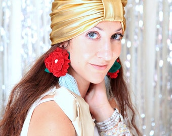 Gold Turban Hat - Women's Metallic Headwrap - Holiday Party Style - Halloween Costume Hair Wrap